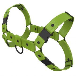 One Size Bulldog Harness – Standard Leather – Green - Black Plastic Fittings