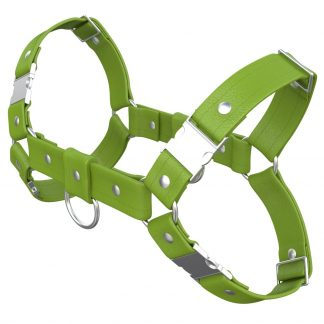 One Size Bulldog Harness – Standard Leather – Green - Silver Metal Fittings