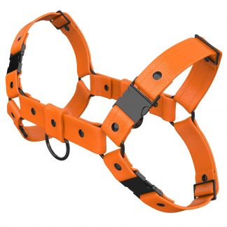 One Size Bulldog Harness – Standard Leather – Orange - Gun Metal Black Fittings