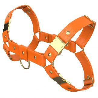 One Size Bulldog Harness – Standard Leather – Orange - Gold Metal Fittings