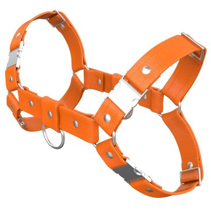 One Size Bulldog Harness – Standard Leather – Orange - Silver Metal Fittings