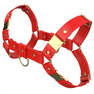 One Size Bulldog Harness – Standard Leather – Red - Gold Metal Fittings