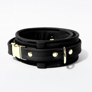 Collar – Standard Leather – Black - Gold Metal Fittings