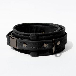 Collar – Standard Leather – Black - Gun Metal Black Fittings