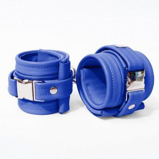 One Size Wrist Restraint Set - Standard Leather - Blue - Silver Metal Fittings