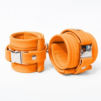 One Size Wrist Restraint Set - Standard Leather - Orange - Silver Metal Fittings