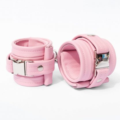 One Size Wrist Restraint Set - Standard Leather - Pink - Silver Metal Fittings
