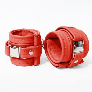 One Size Wrist Restraint Set - Standard Leather - Red - Silver Metal Fittings