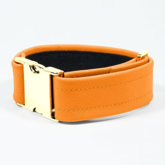 Bicep Strap – Standard Leather – Orange - Gold Metal Fittings