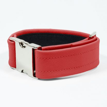 Bicep Strap – Standard Leather – Red - Silver Metal Fittings