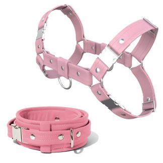 Bulldog Harness + Collar – Standard Leather – Pink - Silver Metal Fittings