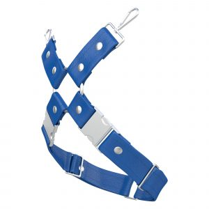 One Size Leg Harness – Standard Leather – Blue - Silver Metal Fittings
