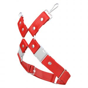One Size Leg Harness – Standard Leather – Red - Silver Metal Fittings