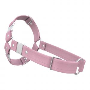 One Size Spartan Harness – Standard Leather – Pink - Silver Metal Fittings